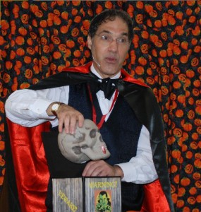 Halloween Magician Jersey Jim and Dracula's floating skull
